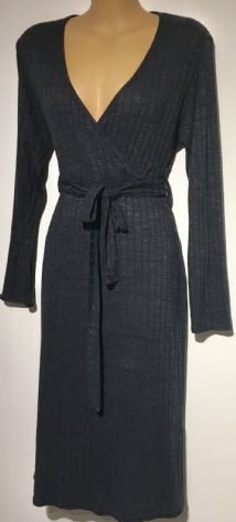 BOOHOO CHARCOAL GREY RIBBED WRAP DRESS SIZE 14